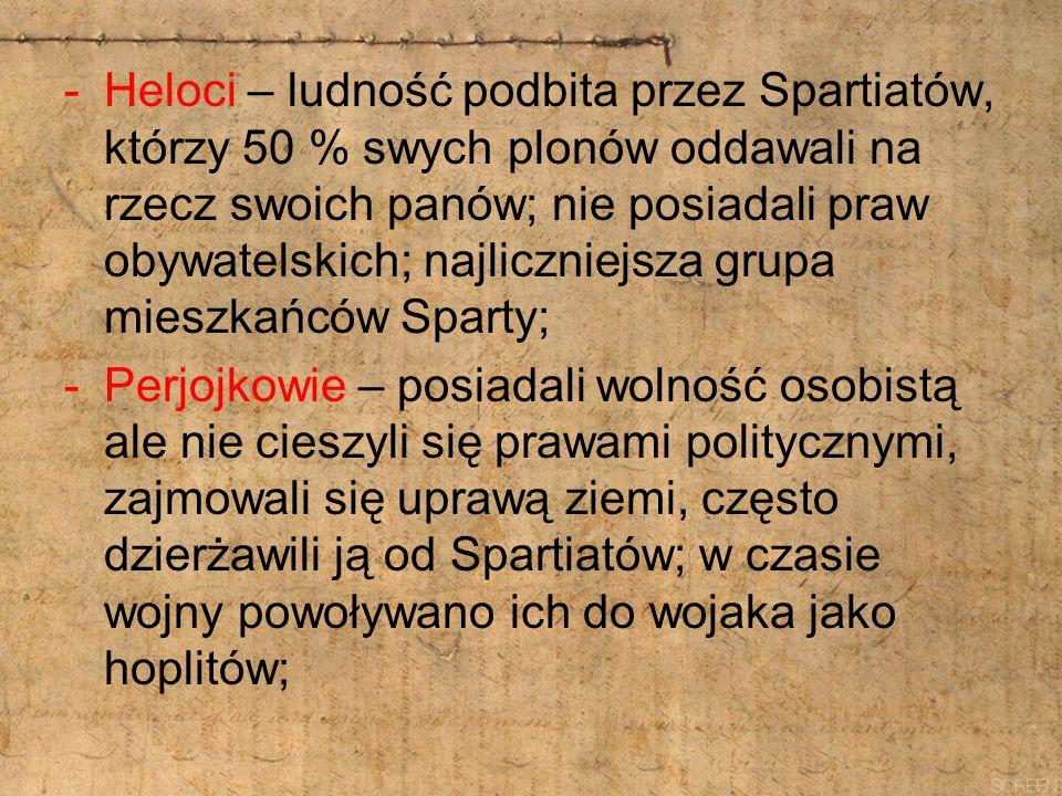 Heloci – ludność podbita przez Spartiatów, którzy 50 % swych plonów oddawali na rzecz swoich panów; nie posiadali praw obywatelskich; najliczniejsza grupa mieszkańców Sparty;