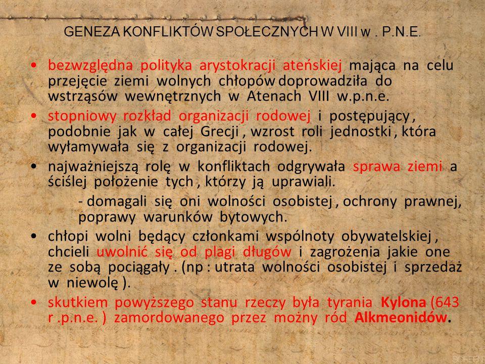 GENEZA KONFLIKTÓW SPOŁECZNYCH W VIII w . P.N.E.