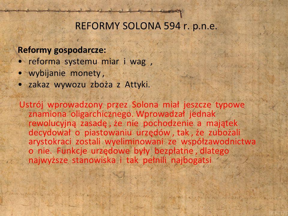 REFORMY SOLONA 594 r. p.n.e. Reformy gospodarcze: