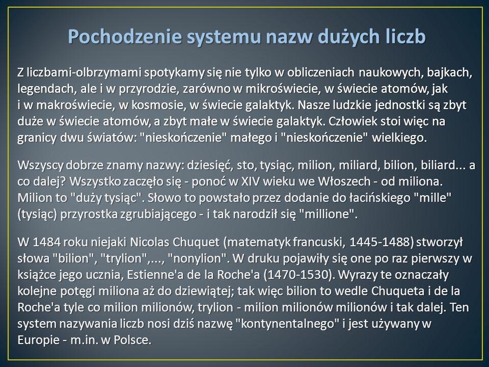Pochodzenie systemu nazw dużych liczb