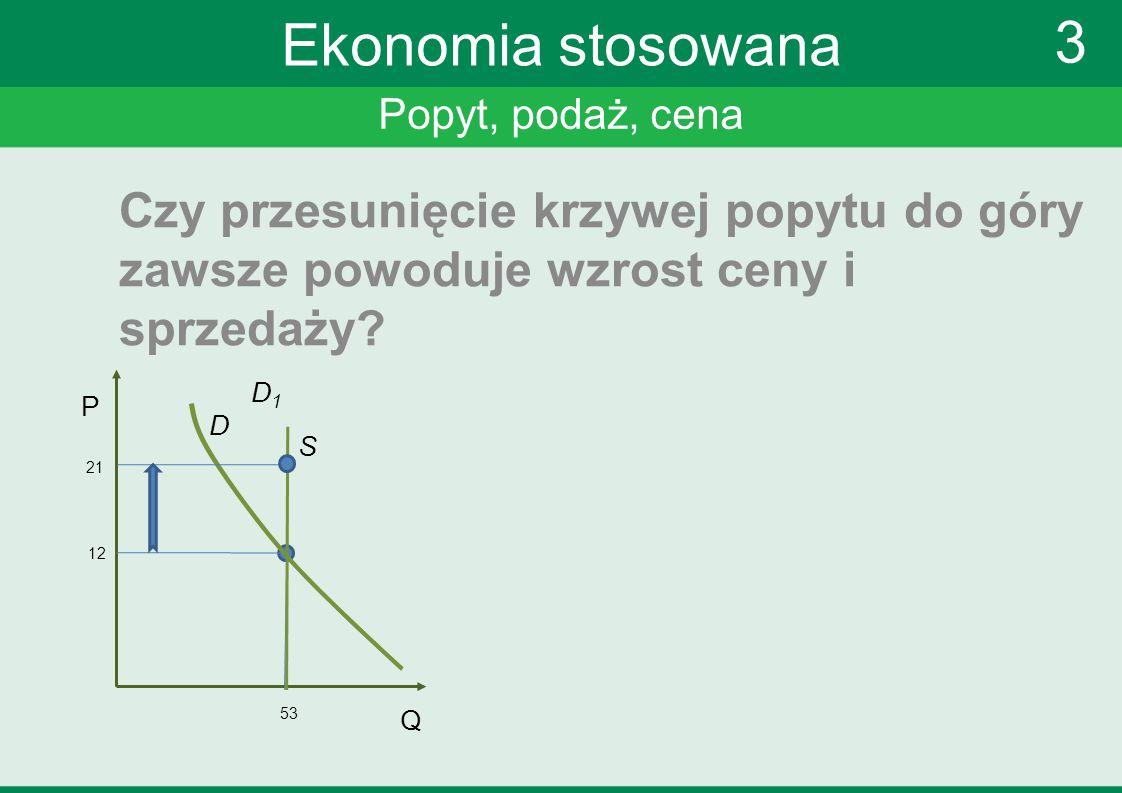 Ekonomia stosowana 3. Popyt, podaż, cena. Czy przesunięcie krzywej popytu do góry zawsze powoduje wzrost ceny i sprzedaży