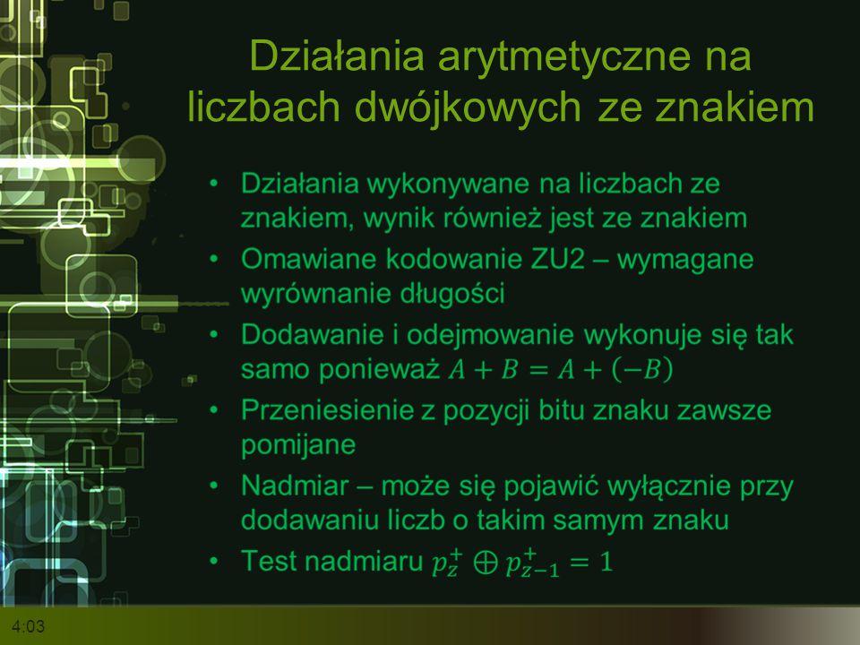 Działania arytmetyczne na liczbach dwójkowych ze znakiem