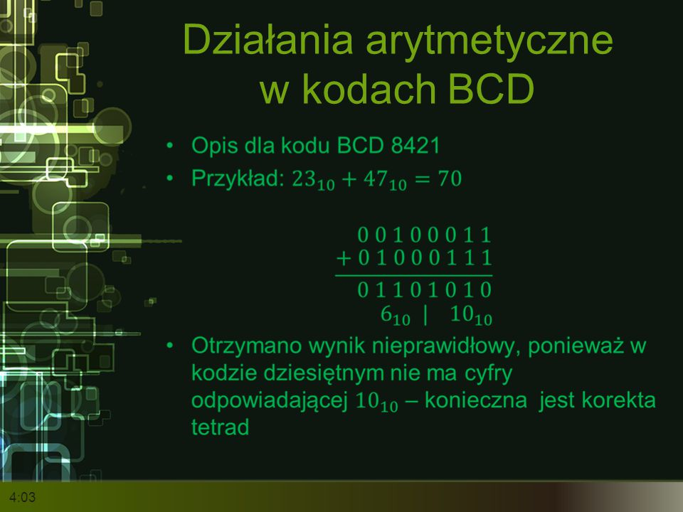 Działania arytmetyczne w kodach BCD