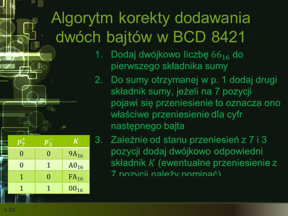 Algorytm korekty dodawania dwóch bajtów w BCD 8421