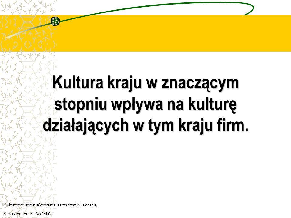 Kultura kraju w znaczącym stopniu wpływa na kulturę działających w tym kraju firm.