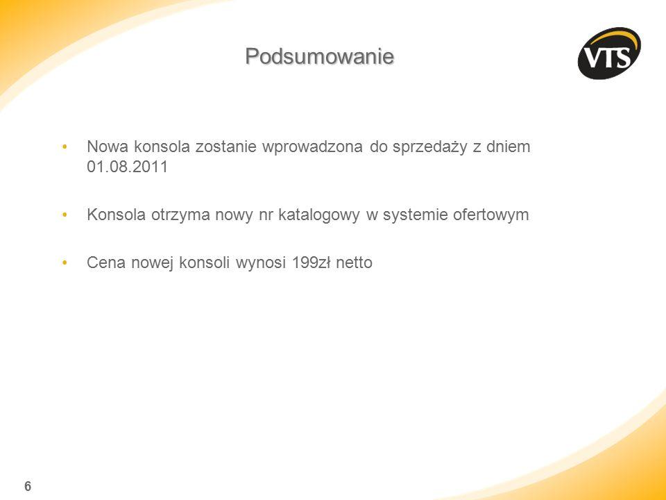 * 07/16/96. Podsumowanie. Nowa konsola zostanie wprowadzona do sprzedaży z dniem 01.08.2011.
