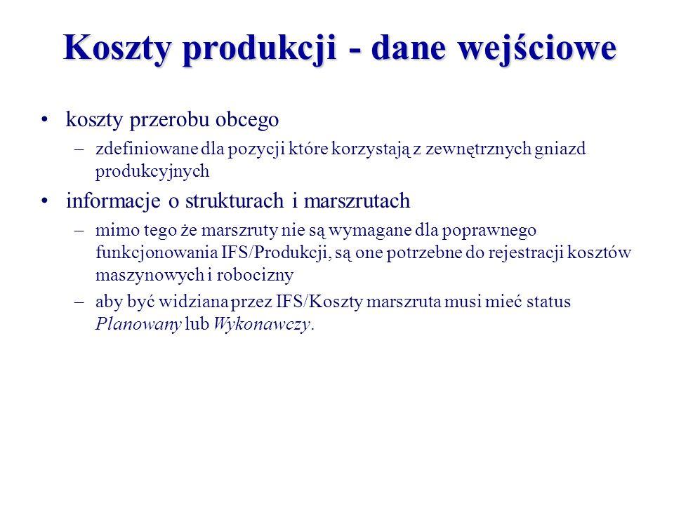 Koszty produkcji - dane wejściowe