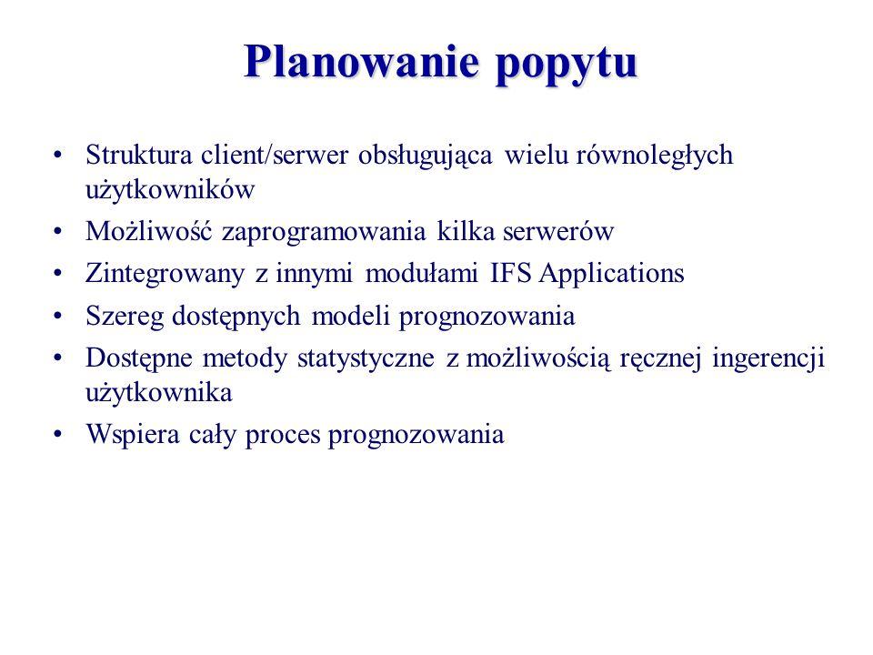 Planowanie popytu Struktura client/serwer obsługująca wielu równoległych użytkowników. Możliwość zaprogramowania kilka serwerów.