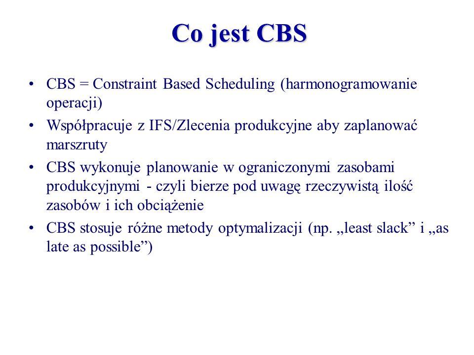 Co jest CBS CBS = Constraint Based Scheduling (harmonogramowanie operacji) Współpracuje z IFS/Zlecenia produkcyjne aby zaplanować marszruty.