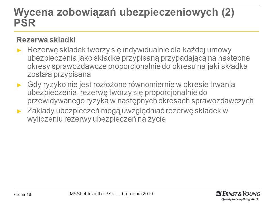 Wycena zobowiązań ubezpieczeniowych (2) PSR