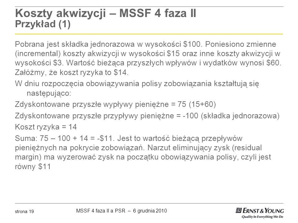 Koszty akwizycji – MSSF 4 faza II Przykład (1)