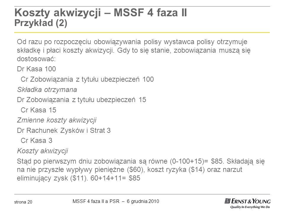 Koszty akwizycji – MSSF 4 faza II Przykład (2)