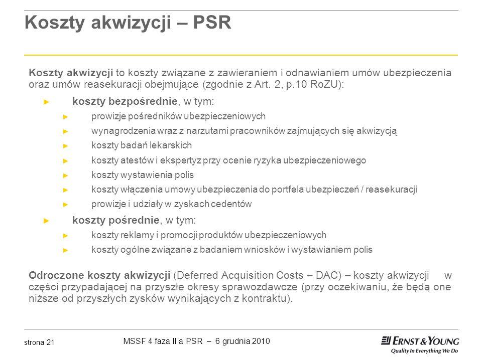 Koszty akwizycji – PSR