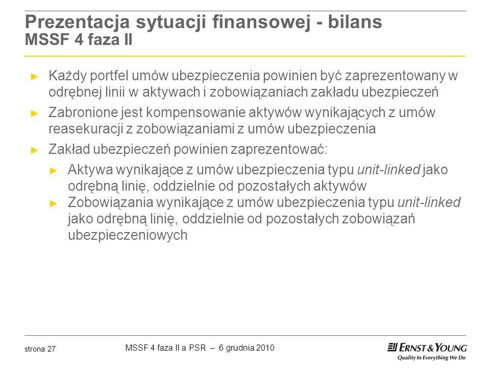Prezentacja sytuacji finansowej - bilans MSSF 4 faza II