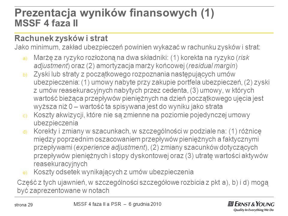 Prezentacja wyników finansowych (1) MSSF 4 faza II