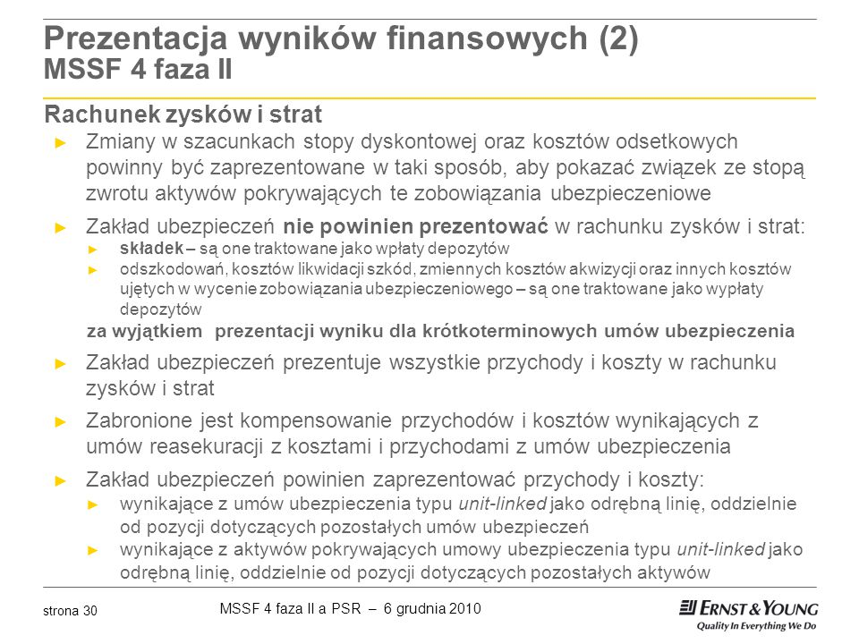 Prezentacja wyników finansowych (2) MSSF 4 faza II