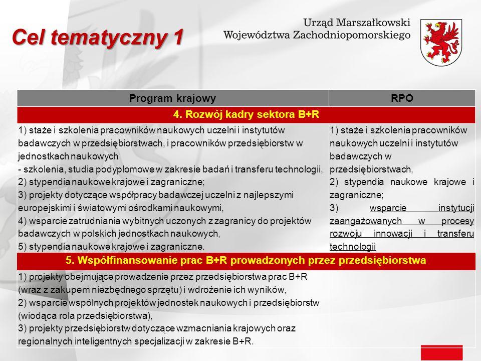 Cel tematyczny 1 Program krajowy RPO 4. Rozwój kadry sektora B+R