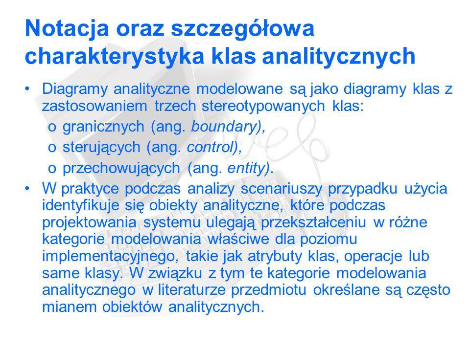 Notacja oraz szczegółowa charakterystyka klas analitycznych