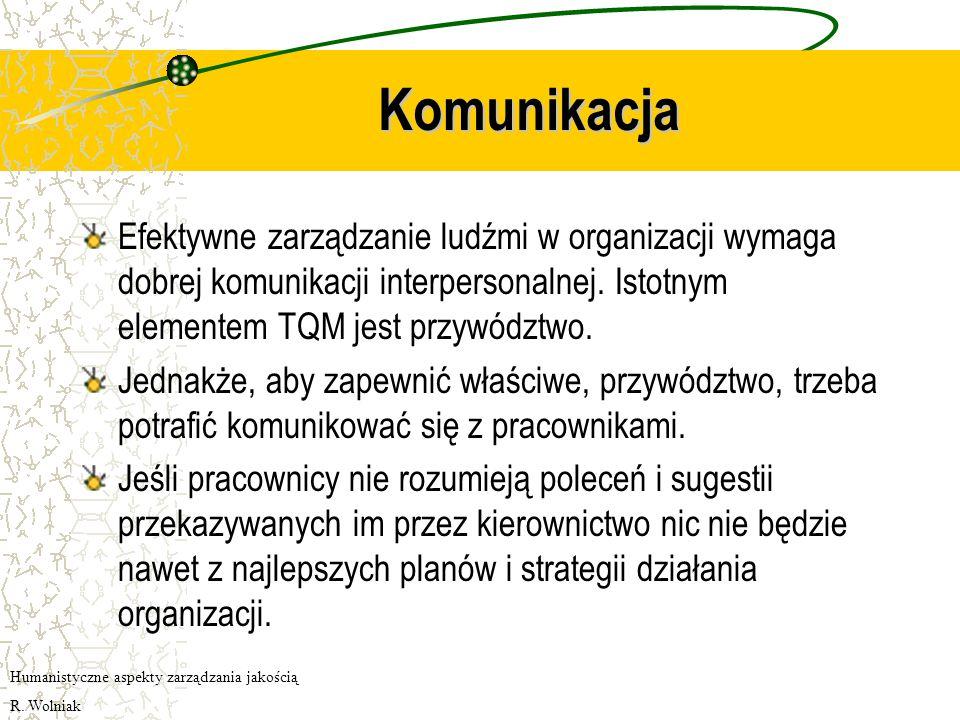 Komunikacja Efektywne zarządzanie ludźmi w organizacji wymaga dobrej komunikacji interpersonalnej. Istotnym elementem TQM jest przywództwo.