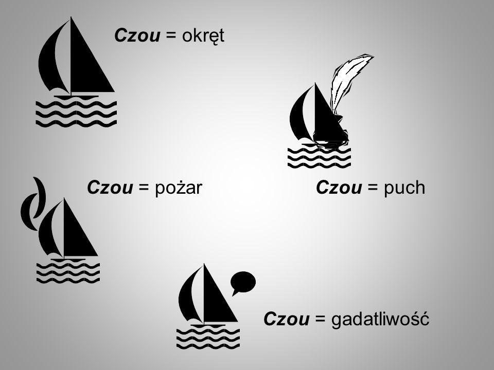 Czou = okręt Czou = pożar Czou = puch Czou = gadatliwość