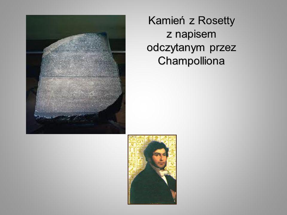 Kamień z Rosetty z napisem odczytanym przez Champolliona