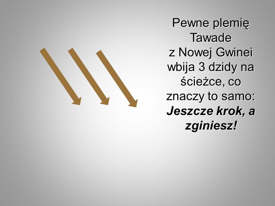Pewne plemię Tawade z Nowej Gwinei wbija 3 dzidy na ścieżce, co znaczy to samo: Jeszcze krok, a zginiesz!