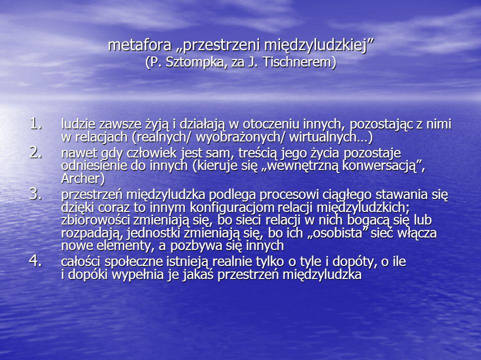 """metafora """"przestrzeni międzyludzkiej (P. Sztompka, za J. Tischnerem)"""
