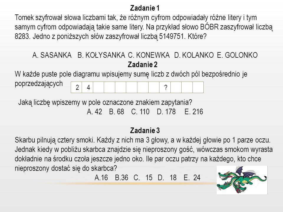 A. SASANKA B. KOŁYSANKA C. KONEWKA D. KOLANKO E. GOLONKO