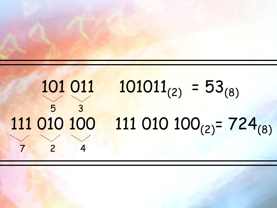 101 011 101011(2) = 53(8) 5 3.