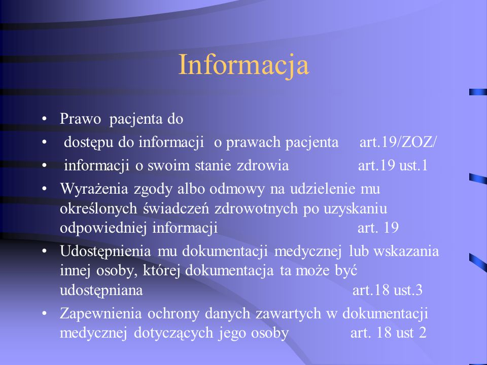 Informacja Prawo pacjenta do