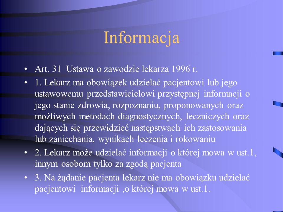 Informacja Art. 31 Ustawa o zawodzie lekarza 1996 r.