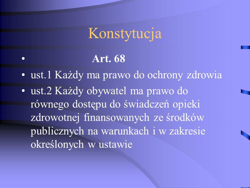 Konstytucja Art. 68 ust.1 Każdy ma prawo do ochrony zdrowia
