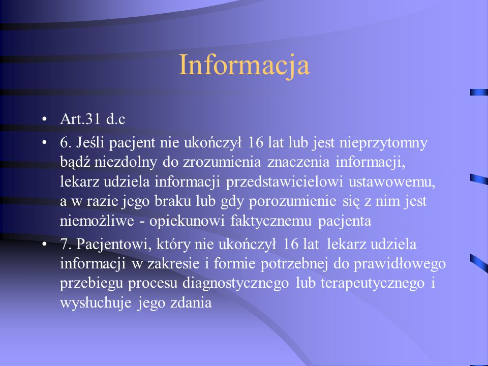 Informacja Art.31 d.c.