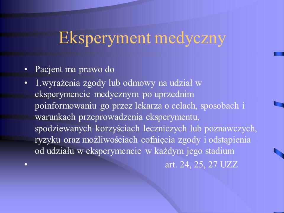 Eksperyment medyczny Pacjent ma prawo do