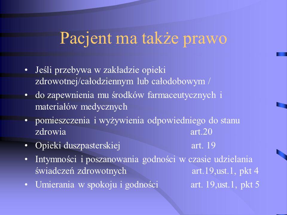 Pacjent ma także prawo Jeśli przebywa w zakładzie opieki zdrowotnej/całodziennym lub całodobowym /