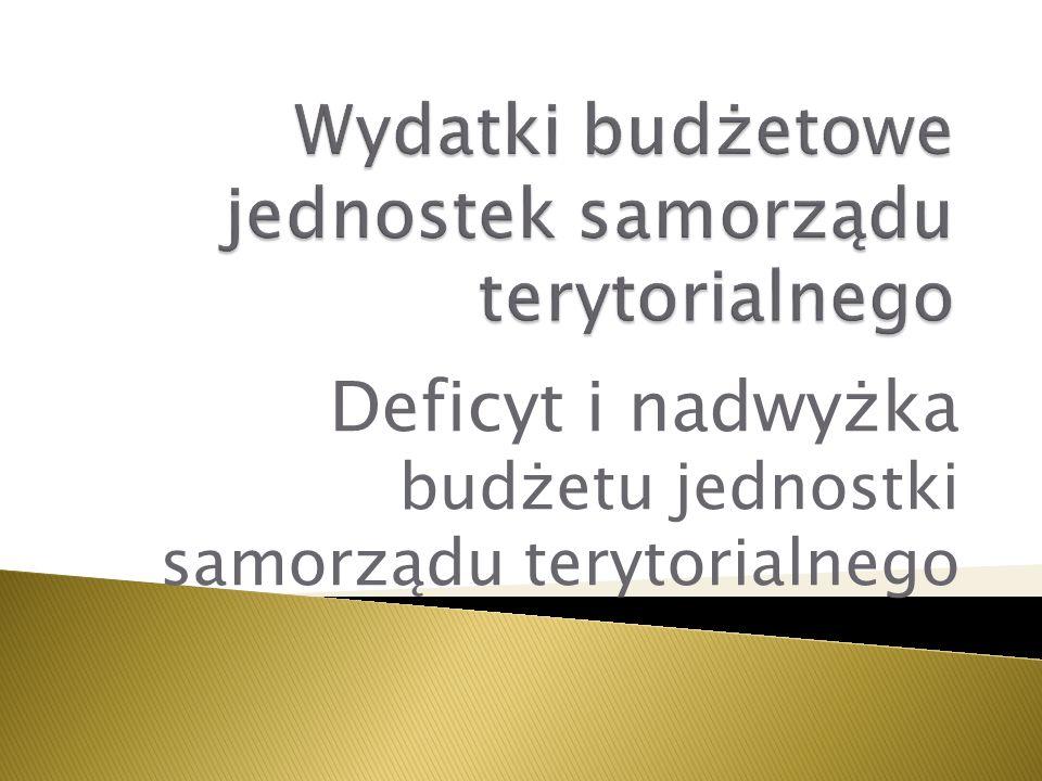 Wydatki budżetowe jednostek samorządu terytorialnego