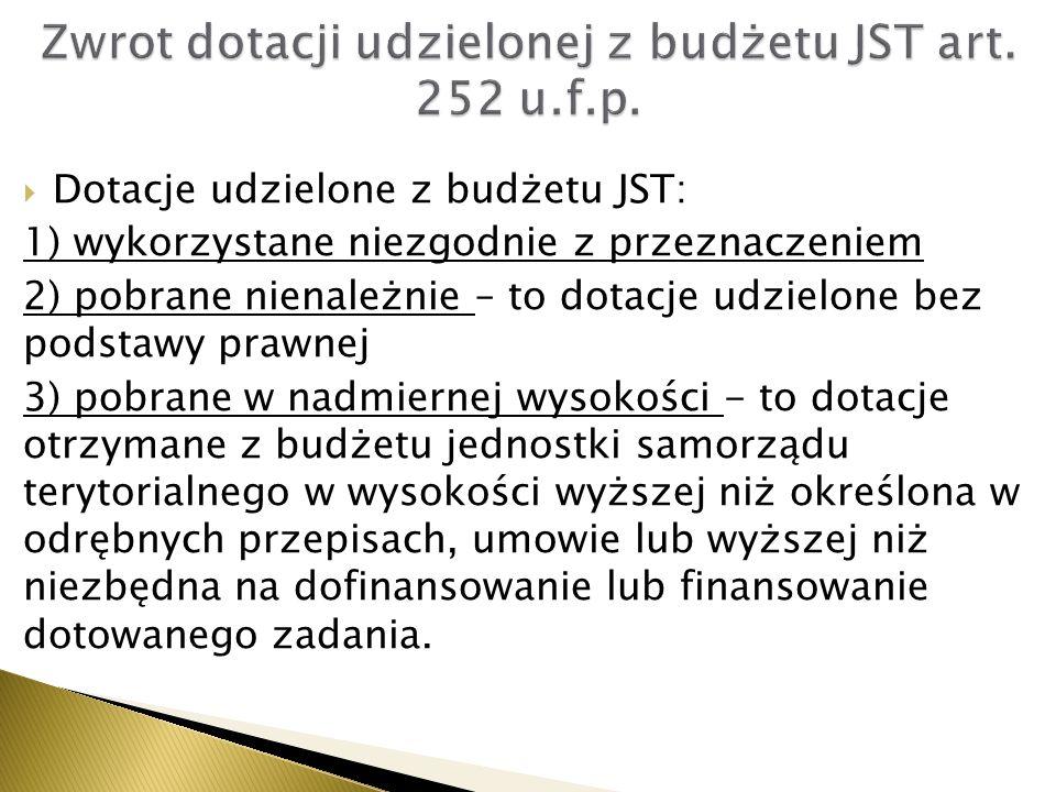 Zwrot dotacji udzielonej z budżetu JST art. 252 u.f.p.