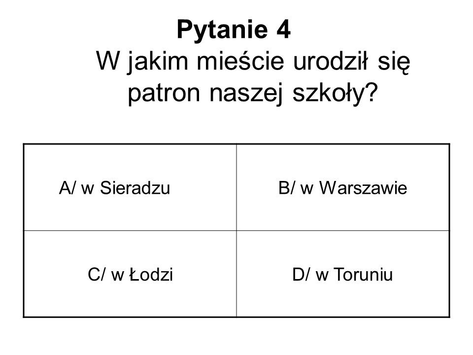 Pytanie 4 W jakim mieście urodził się patron naszej szkoły