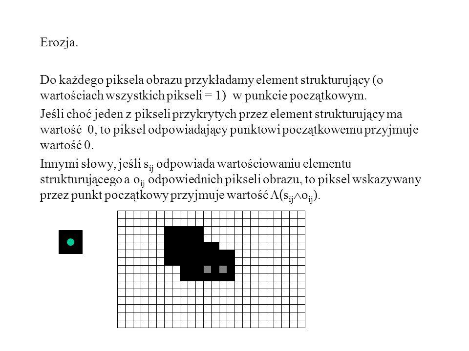 Erozja. Do każdego piksela obrazu przykładamy element strukturujący (o wartościach wszystkich pikseli = 1) w punkcie początkowym.