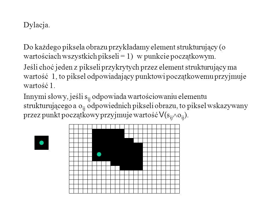 Dylacja. Do każdego piksela obrazu przykładamy element strukturujący (o wartościach wszystkich pikseli = 1) w punkcie początkowym.