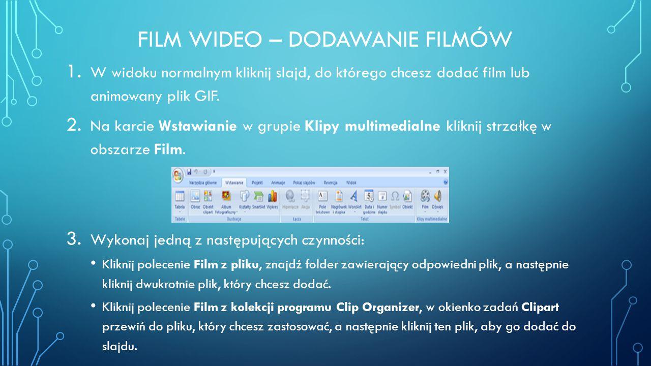 Film wideo – dodawanie filmów