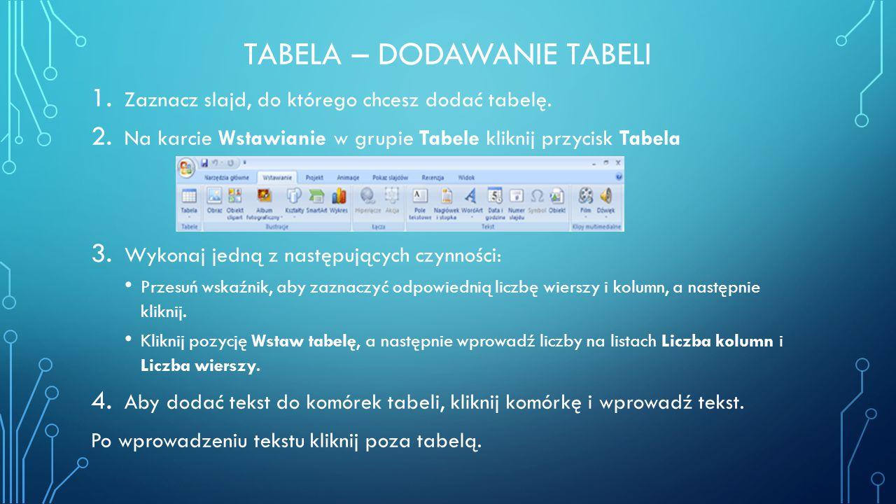 Tabela – dodawanie tabeli