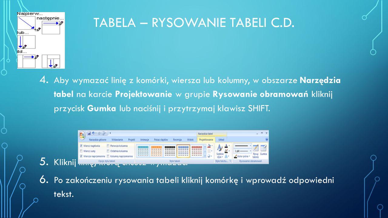 tabela – rysowanie tabeli c.d.
