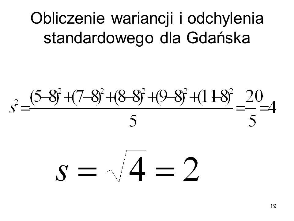 Obliczenie wariancji i odchylenia standardowego dla Gdańska