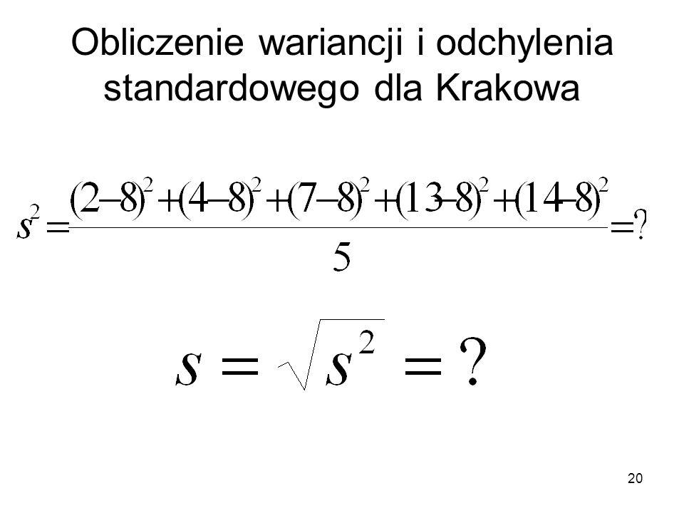 Obliczenie wariancji i odchylenia standardowego dla Krakowa