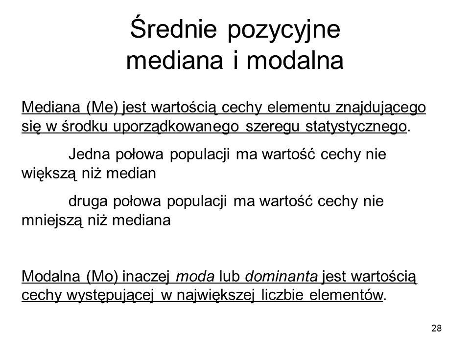 Średnie pozycyjne mediana i modalna