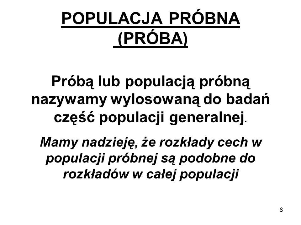 POPULACJA PRÓBNA (PRÓBA)