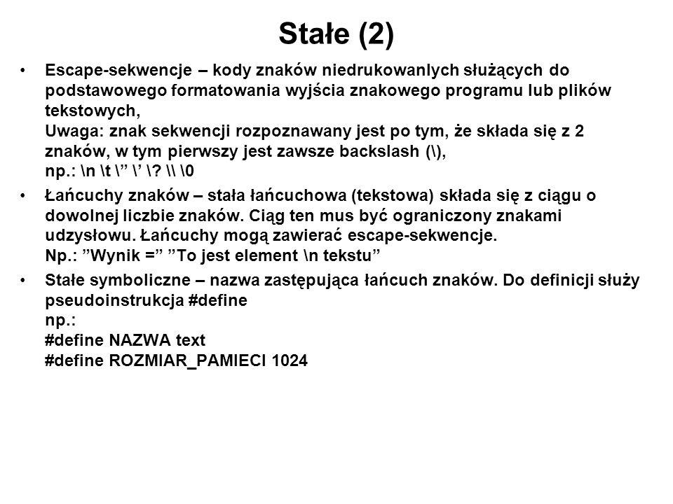 Stałe (2)