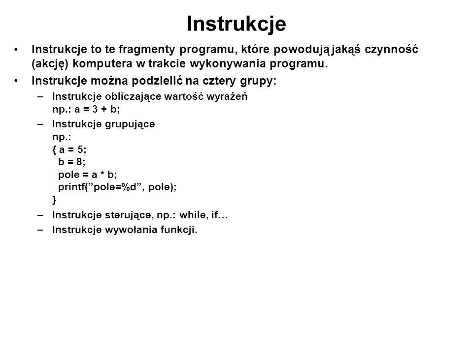 Instrukcje Instrukcje to te fragmenty programu, które powodują jakąś czynność (akcję) komputera w trakcie wykonywania programu.