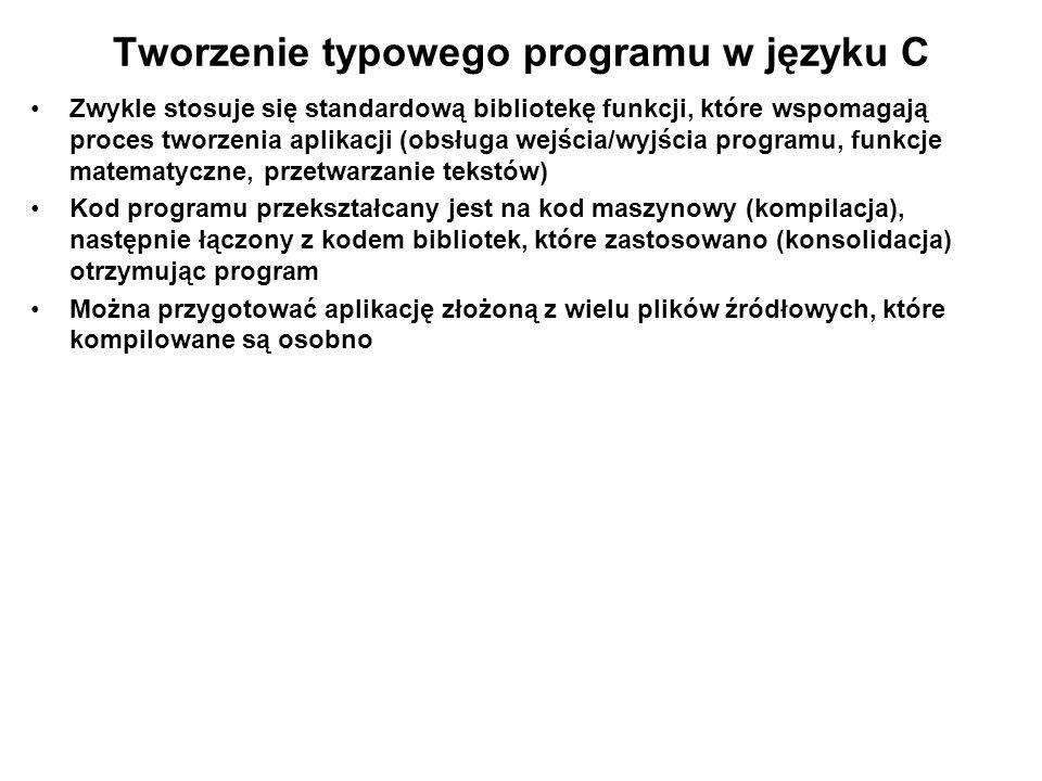 Tworzenie typowego programu w języku C